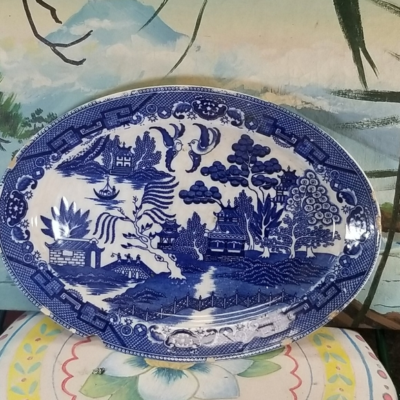 Vintage Handpainted Japanese themed serving tray